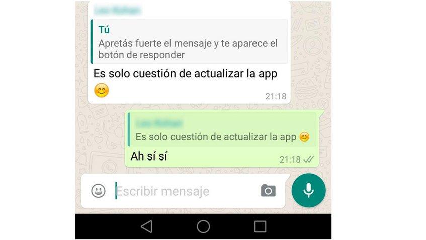 WhatsApp permite responder a un mensaje en específico